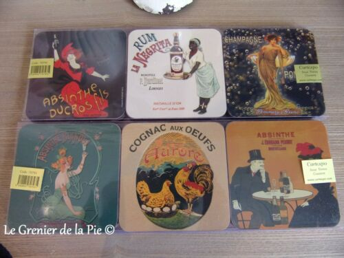 6 dessous de verre champagne absinthe Pernot rhum Negrita style vintage coasters
