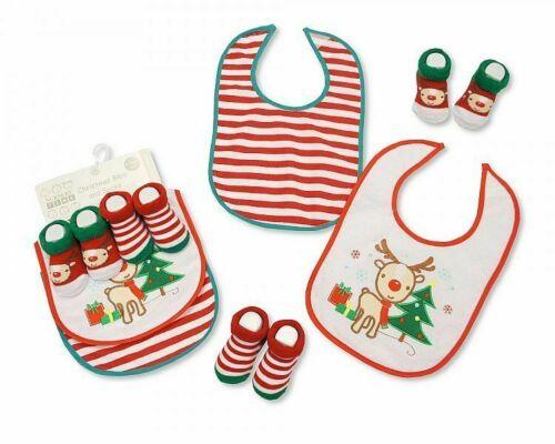 Christmas Baby Bibs /& Socks Gift Set 4 Piece Gift Set Reindeer Nursery Time  0+