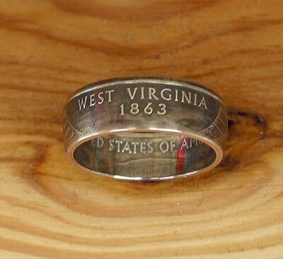 "WEST VIRGINIA US State Quarter Coin Ring. ""HANDCRAFTED"". Sizes 5-10"