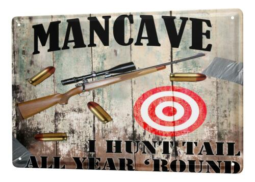 "Tin Sign Sayings  Man Cave rifle target cartridges Metal Plate 8X12/"""