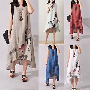 ce395b2655 Image is loading Womens-Boho-Sleeveless-Tunic-Vest-Cotton-Linen-Summer-