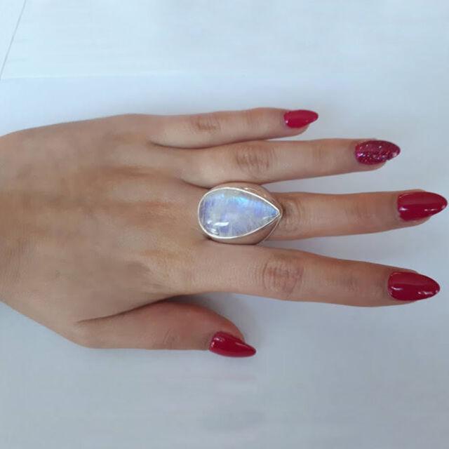 Women Natural Gemstone Rainbow Moonstone Ring Sterling Silver Water Drop Stone