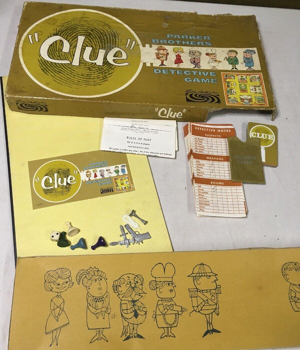Vintage 1963 Parker Bros Clue Detective Board Game INCOMPLETE PARTS PIECES