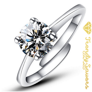 Adjustable-925-Sterling-Silver-Plated-Women-039-s-Ladies-Crystal-Engagement-Rings