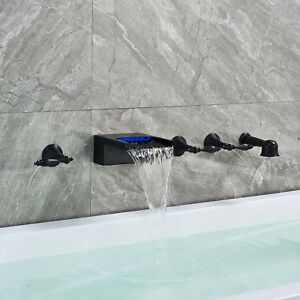 Home Garden Led Oil Rubbed Bronze Waterfall Bathroom Tub Faucet