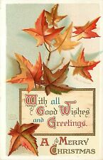 Chromolithograph Embossed Christmas Postcard; Red Maple Leaves A/S Clapsaddle