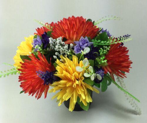 Artificial silk flowers memorial Crem Pot Grave arrangement FREE P/&P HandMade
