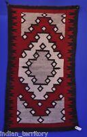 """Navajo Indian Ganado Rug c.1920   31"""" x 56"""" Dark line as shown. Good cabin rug."""