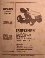 Sears Craftsman 12.5 H.p 38 Riding Lawn Garden Tractor Owner & Parts Manual 52pg
