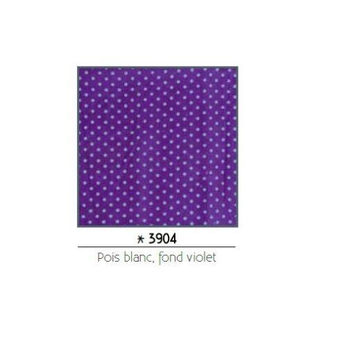 Pièce de coton imprimé 55x45,5 cm fond violet pois blancs