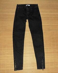 jean SANDRO slim avec zip au bas taille haute en coton melangé noir taille 34 fr