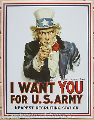 Uncle Sam I Want You for US Army TIN SIGN metal poster vtg retro wall decor 128