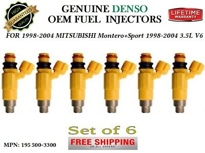 OEM Denso 195500-3300 Set of 6 Fuel Injectors for Mitsubishi Montero Sport 3.5L
