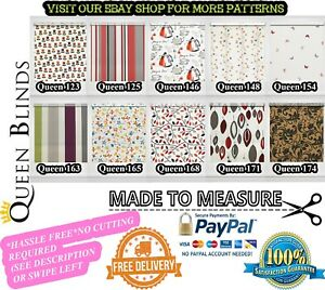 *MADE TO MEASURE* EASY FIT Premium Patterned Multicoloured Custom Roller Blinds