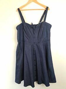 City-Chic-Blue-Denim-Fit-amp-Flare-A-Line-Dress-Women-039-s-PLUS-Size-L-20-Button-Zip