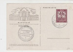 Germany 1960 Hildesheim Cancel Building Theater Stamps Card Ref 23392