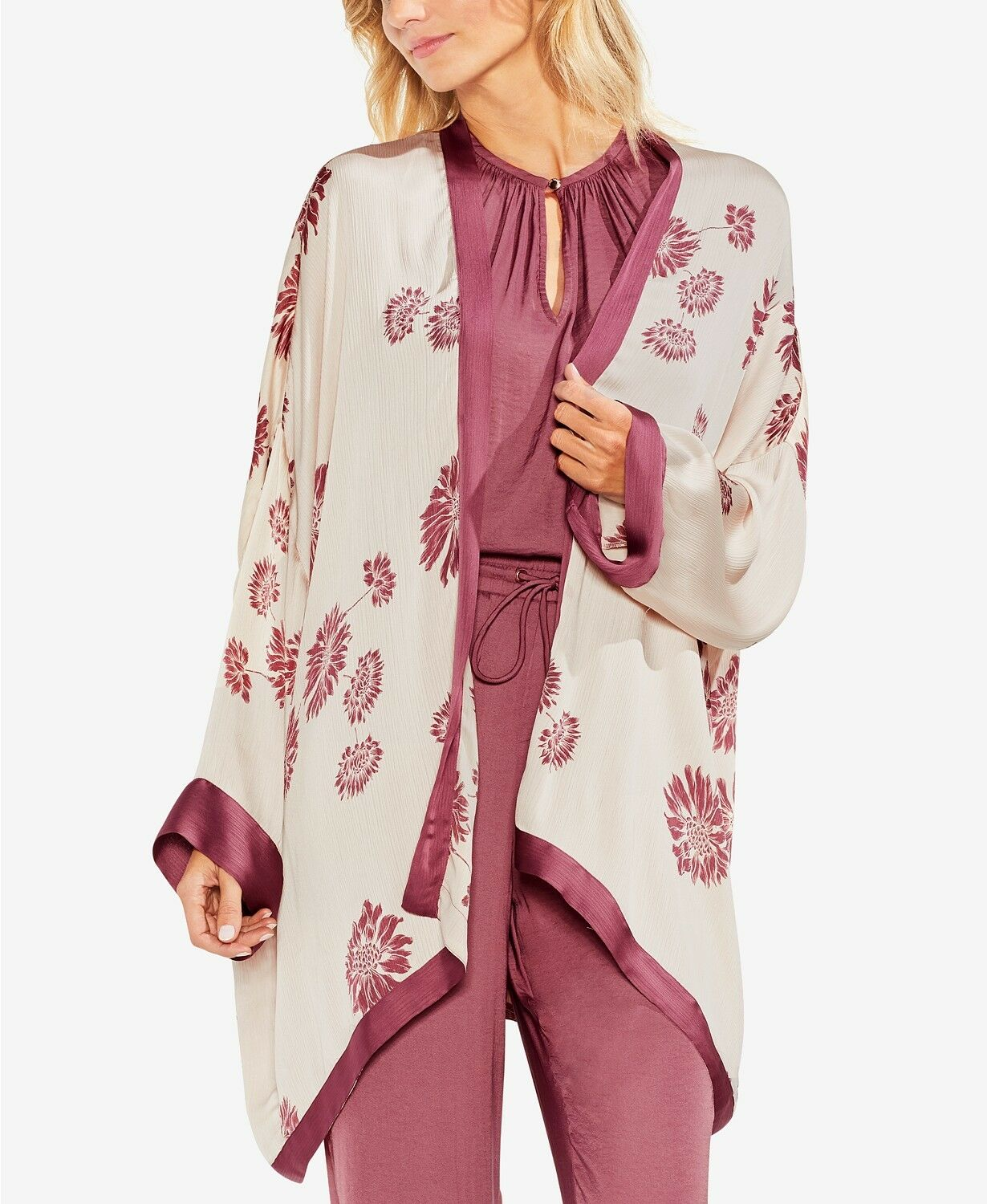 240 VINCE CASUAL CAMUTO Donna IVORY rosa OPEN FRONT FLORAL CASUAL VINCE CARDIGAN SIZE XXS 5e0378