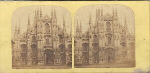 Milan Gaçade Da La Cattedrale Italia Foto Stereo Vintage Albumina c1865