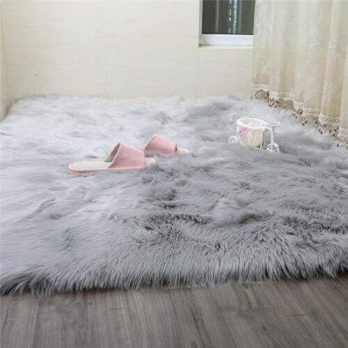 Grey Fluffy Faux sheepskin rug Large Super Size STUNNING Fur Custom Size