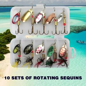 10Pcs-Fishing-Lures-Spinnerbaits-Bass-Trout-Salmon-Hard-Metal-Spinner-Baits-Box
