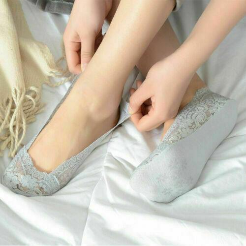 5 Pairs Non-slip Ankle Socks Invisible Socks Women Lace Boat Socks