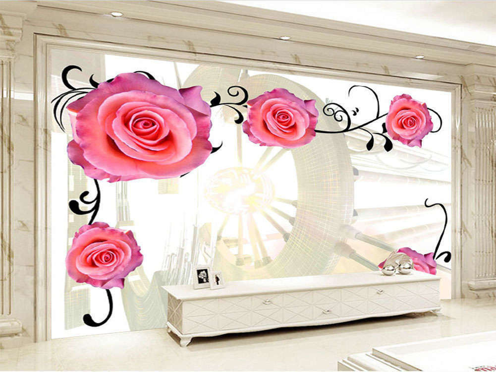 Enormous Continuous Roses 3D Full Wall Mural Photo Wallpaper Printing Home Kids