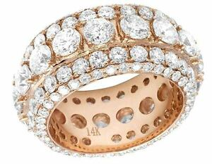14K-Rose-Gold-Solitaire-VS-Diamond-12mm-Mens-Eternity-Wedding-Band-Ring-11-1-2ct