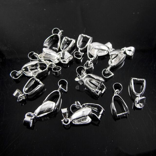 Wholesale 10 Pcs 925 Sterling Silver Pendant Pinch Clasp Bail Clasp Connectors