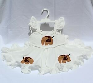 Girls Elephant Design Frill Dress 100% Cotton Handmade in Thailand 5 sizes