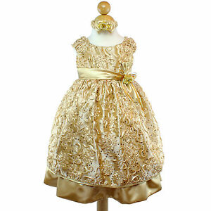 Gold flower girl dress bridesmaid party wedding pageant glitter image is loading gold flower girl dress bridesmaid party wedding pageant mightylinksfo