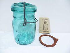 Ball Ideal Blue Green Pint Mason Jar With Glass Lid Special Bicentennial