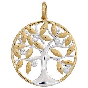Lebensbaum-Diamant-Anhaenger-585-Gelb-Bicolor-Gold-Symbol-Schmuck-NEU