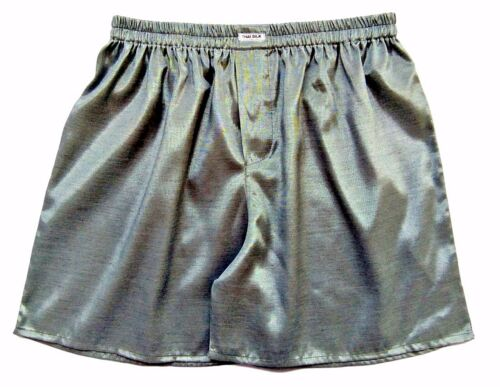 "Grey 28/"" Mens Thai Silk Boxer shorts FREE UK POST 31/"" Small Underwear"