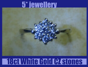 new real 750 18ct white gold round Cubic Zircon diamond cluster engagement ring