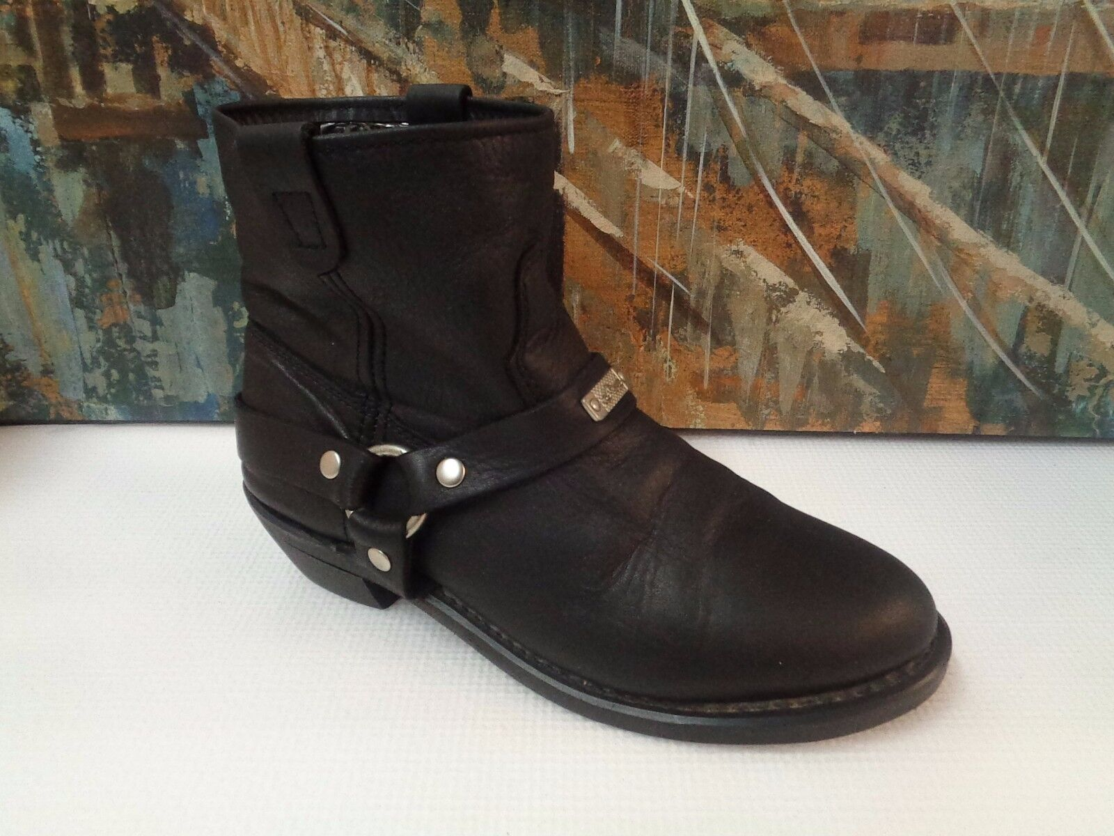 VINTAGE BLACK LEATHER HARNESS RIDING BOOTS EQUESTRIAN 9.5