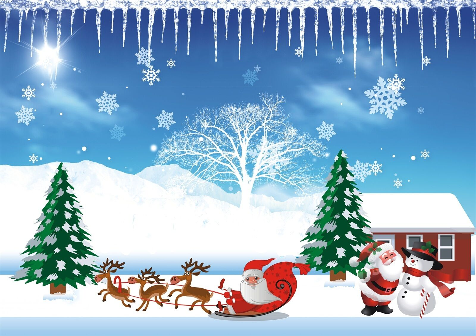3D Snow Christmas sled Wall Paper wall Print Decal Wall Deco Wall Indoor Murals