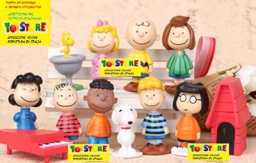 SET 12 PERSONAGGI PEANUTS ACTION FIGURE SNOOPY CHARLY BROWN AND FRIEND ITALY NEW