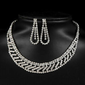Crystal-Pendant-Bib-Choker-Chain-Statement-Necklace-Earrings-Wedding-Jewelry-S