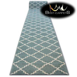 Modern Thick Hall Runner Sketch Trellis Turquoise Width 80