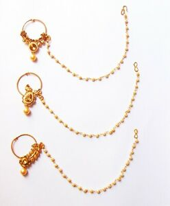 Indian Bollywood Bridal Nath Golden Nose Ring Non Piercing Ring Wedding Jewelry Ebay