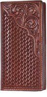 3d Belt Western Mens Wallet Rodeo Basketweave Floral Tooled Tan Aw11
