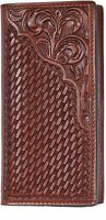 3d Belt Western Mens Wallet Rodeo Basketweave Floral Tooled Tan Aw11