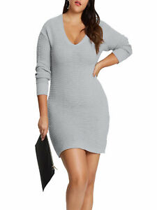 New-Missguided-GREY-V-neck-Ribbed-Knit-Jumper-Tunic-Dress-Size14-24