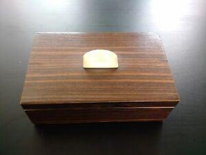 Rare art deco box signed wood and bakelite decor géometrique superb