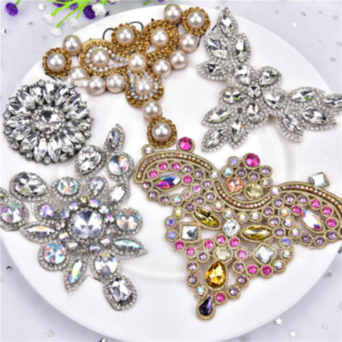 Silver Crystal Glass Rhinestone Applique Bridal Costumes Dress Trims Sewing DIY