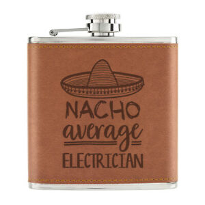 Nacho-Moyenne-Electrician-170ml-Cuir-PU-Hip-Flasque-Fauve-Worlds-Best-Awesome