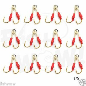 20pcs Size 3//0 Fishing 4x Assist Hooks in one solid ring Gold finish for jigs