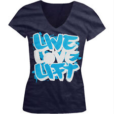 Live Love Lift Weights Gym Workout Life Bodybuilding Fit Juniors V-Neck T-Shirt