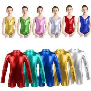 Kids Girls Metallic Gymnastics Leotard Ballet Dance Jumpsuit Dancewear Costume