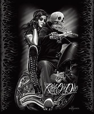 DGA Ride Or Die Biker Babe Queen Blanket Warm Soft Plush Mink Motorcycle Skull